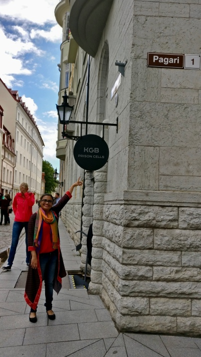 My sister at the KGB Museum or the Museum of Occupation